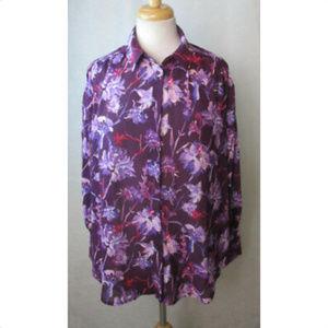 WHO WHAT WEAR Floral Button Down Blouse Shirt, XL